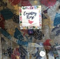 COUNTRY ROSE CHRISTMAS PRINT POCKET TUNIC TOP SIZE L 16-18